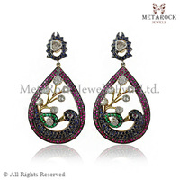 Multi-Gemstone Peacock Wings Diamond Designer Earrings, Handmade Diamond Earring, Supplier Gemstone Earring Jewelry