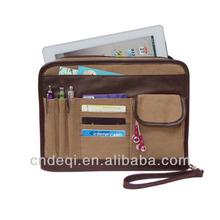 Canvas zipper tablet cards pens organizer holder sleeve case folio bag