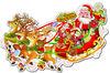 3D Paper Glitter Santa Claus Sleigh Christmas Decoration Sticker