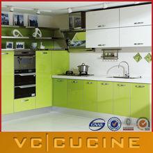 L shape apple green kitchen cabinet
