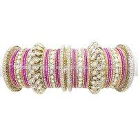 Women Magenta CZ Gold Tone Bracelet/Kada Party Wear Bangle Set Indian Jewelry