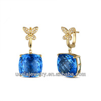 2014 Summer Jewelry fancy hanging gold played solid stud earring
