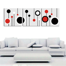 simple circle design three units frame painting for living decoration