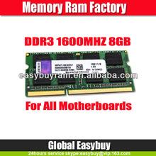 Alibaba china supplier ETT original chips laptop 8gb ddr3 ram sodimm memory
