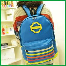 Encai Fashion Rivet Style Student PU Backpack/ Teenage Girls Leisure Knapsack/Stripe Backpack For Fashion Girls