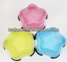 Summer Plastic Pet Bowl Cut Star Shape Small Puppy Bowls Pet Bowls & Feeders,10cm