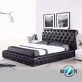 ملكة حجم سرير بو الجلود السوداء