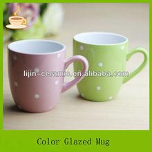 customized souvenirs and gift mugs and cups polka dot design/ceramic tea & coffee mugs
