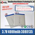 Altamente personalizado 4000 mAh 3080135 3.7 V recargable li po batería de 9 pulgadas de la tableta