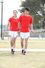 Couple's red badminton sport wear,women badminton jersey,sport badminton shirts