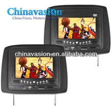 Car Headrest DVD Player/Game System Black (Pair) - 7 Inch Screen
