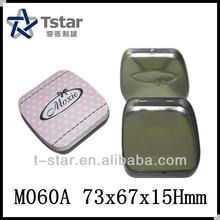 small metal hinged lid tin box