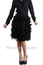 Ladies Fashion sexy Long Sleeve black tiered skirt evening dress