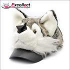 Custom Faux Fur Wolf Head Image Animal Hat