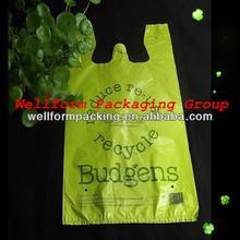 China Biodegradable plastic bag t-shirt for shopping market