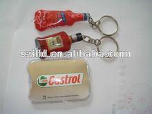 PVC inflation LED keychains, reflective keychain with light, promotion plastic key ring