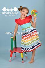 2014so cute chevron baby dress short sleeve casual dress of 8 years old girls zig zag party dress fashion kids ruffle clothing