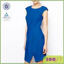 Royal blue Asymmetric wrap Skirt cap sleeve latest designer new ladies dress