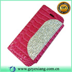 Crystal Flip Cover Leather Case for iphone 5C, For iphone5C Leather Wallet cover