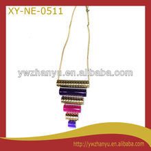 Fashion colorful steel pipe jean shape pendant chain necklace for women