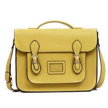 promotional fashion faux PU leather school satchel shoulder messenger bag with adjustable shoulder strap and magnetic closure