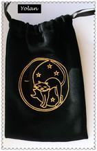 custom cheap black velvet wine bag