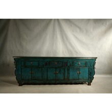 Chinese Antique Dark Blue Three Drawer Six door Cabinet Furniture