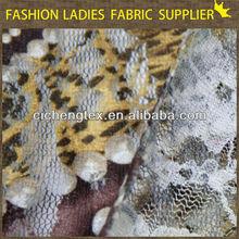 new fashion nylon spandex printed lace fabric wholesale printing mesh bridal lace fabric