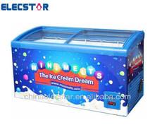 low temperature -45'C chest showcase, -45C curved glass door freezer