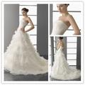 Elegante wd-1662 2013-2014 nuevo modelo de las señoras vestido de novia de la boda de organza vestido de falda de volantes