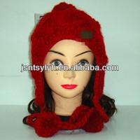 Red jacquard warm plait earflap hat with pompom