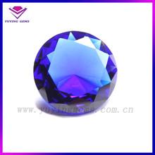 Round dirmond cut Blue Glass Crystal Bead Stone