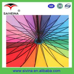 24 Ribs colorful Rainbow Golf Umbrella/windproof golf umbrella