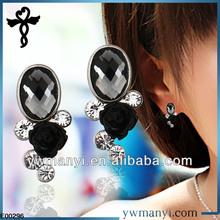 2014 new fashion ladies stud designs glass rhinestones resin flower ear covers for sleep earrings in zinc alloy jewelry E00296