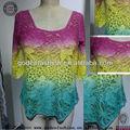 Nouveau tie-dye voir à travers blouse saris de coton tricotés manches longues conceptions
