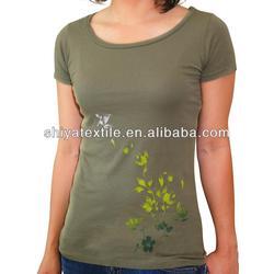 good quality woment breathable fabric t shirt, fancy print t shirt custom fit