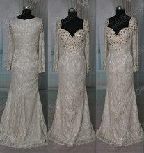 Jm. Bridals Real amostra HY226 elegante Shealth frisada Lace mãe dos vestidos de noiva com mangas