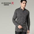 Alta qualidade k- boxe marca atingiu lapela mercerizado do algodão de moda camisa de manga comprida, chegada nova
