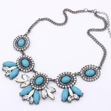 European and American fashion jewelry wholesale flower necklace European and American fashion retro flash diamond necklace CN992