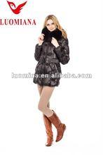 Shiny black fur down coats fur clothing factory fur jacket for women