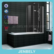 6mm Frameless hinged bath shower screen with shelf and Arc edge