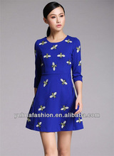 Bright bee pattern embroidered dress,online shop alibaba