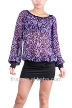100%polyester lady blouse long sheeve new design blue animal print pakistani designer long kurtis...