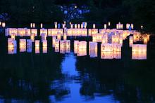 wooden water lanterns