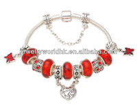 2014 Mothers Day Gifts, European glass bead silver plated mother and daughter dangle bead charm bracelet jewelry
