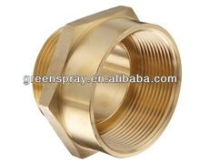 """3"""" NPT Female to 2-1/2"""" NH Male Brass Fire Hose Adapter,Nipple"""