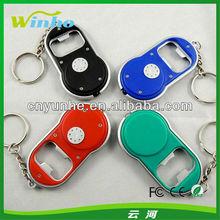 Winho 4 colors option led bottle opener keychain can print your logo