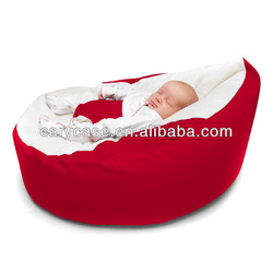red baby bean bag chair with safety harness