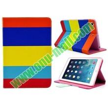 Colorful Horizontal Stripe Leather stand case for iPad Mini 2 Mini Retina with Magnetic