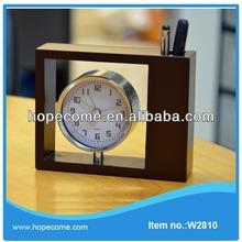 (W2810) wooden retro antique clock , pen holder clock for student